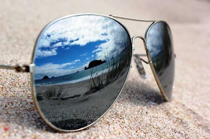 Beach reflection through Ray-Bans 1  - Hahei, New Zealand Beach, Summer, Ben Amies © 2012