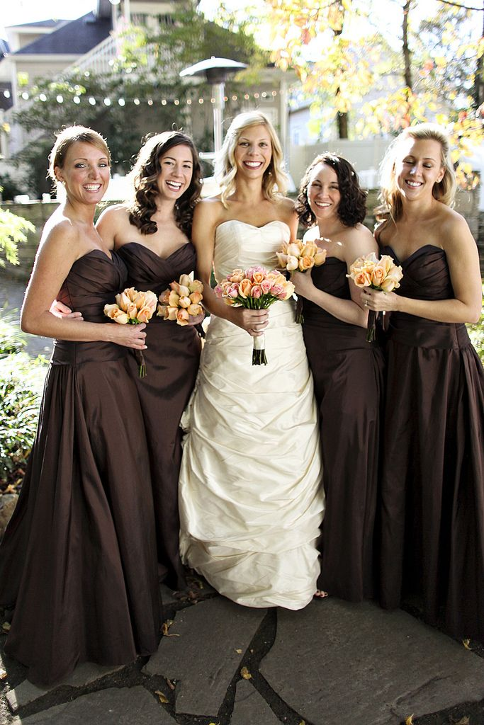 Garden Wedding Venue | Chocolate Brown Bridesmaids Dresses - Photo: JHenderson Studios