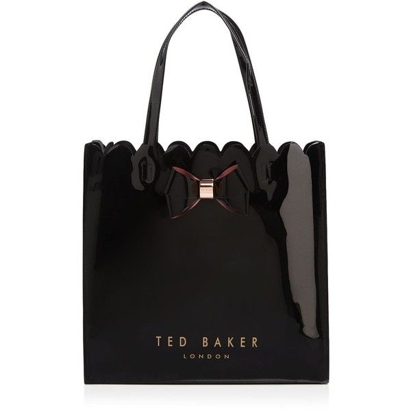 Ted Baker Scallop Bow Large Icon Tote ($59) ❤ liked on Polyvore featuring bags, handbags, tote bags, black, patent leather tote, tote handbags, bow handbag, ted baker purse and shopper tote handbags