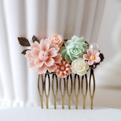 Sødt hårsmykke til bryllup / brud i mingrøn og lyserød