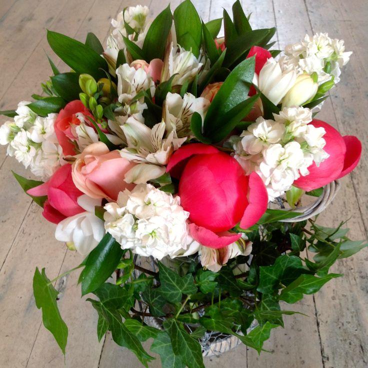 Rustic charm lantern bouquet.