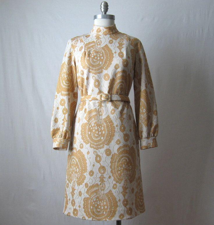 Lurex Dress 60s Mod Metallic Dress Joan Holloway Gold Dress - Volup by ultravioletvintage on Etsy #madmen #joanholloway #60sdress #1960s #lurexdress #volup #plussize #vintagedress