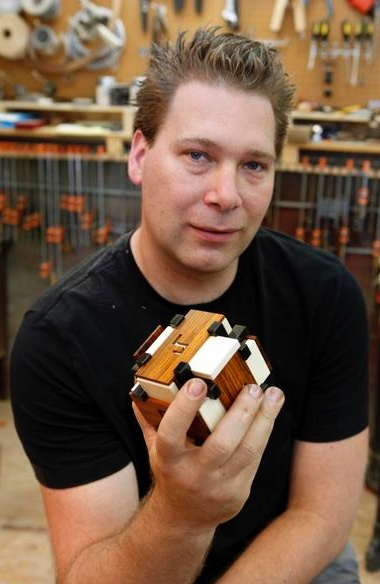 KAGEN SCHAEFER - a puzzle designer and maker living in Denver, Colorado. Kagen is known for high quality wooden puzzle boxes, often featuring a mathematical or pattern theme. Kagen has won awards in the annual Nob Yoshigahara Puzzle Design Competition on multiple occasions, including the first puzzle to win two awards in the same competition (Puzzler's Award and the Jury First prize for the Block Box).