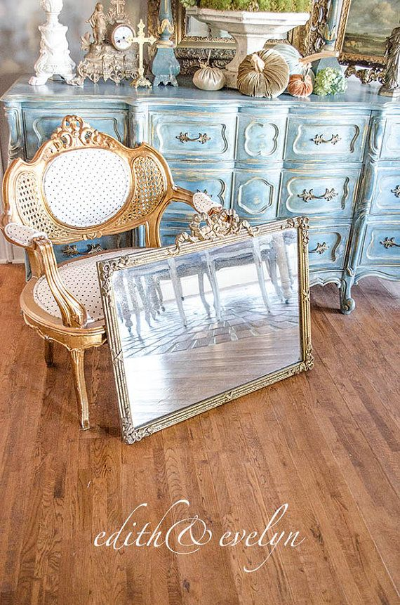 Antique French Mirror Gilt Gesso Frame Heavy by edithandevelyn