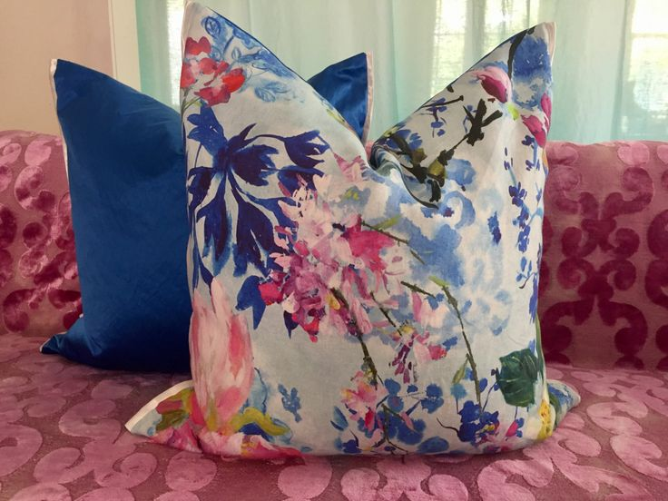 2 stunning pillow covers in MAJOLICA CORNFLOWER 24x24inch, 2017 collection Designers Guild by AdoreDesignLucie on Etsy