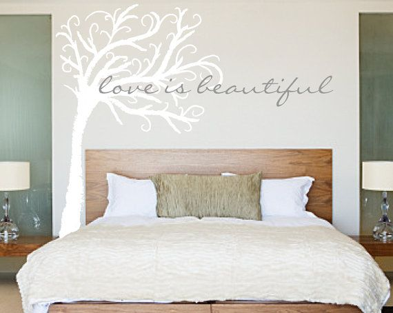 Tree Wall Decal Love Is Beautiful quote and Tree by luxeloft. , via Etsy.