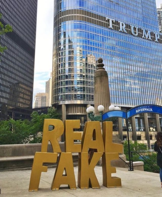 "How befitting!! A new statue erected outside of Trumps building in Chicago!! ""Real Fake!!"""