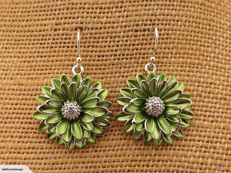 Green & Silver Flower Earrings   Trade Me