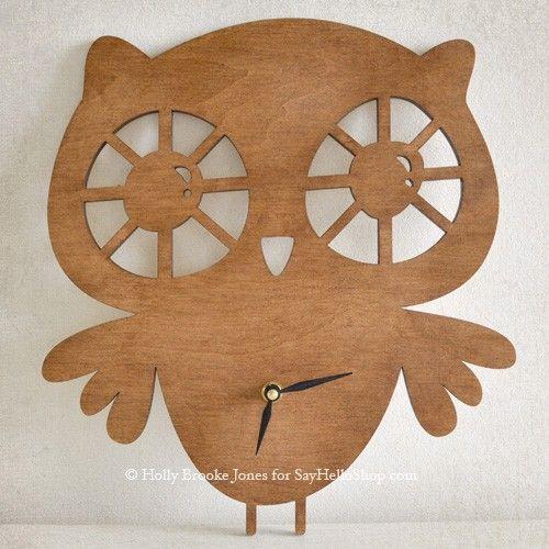Wooden #owl clock by Holly Brooke Jones.