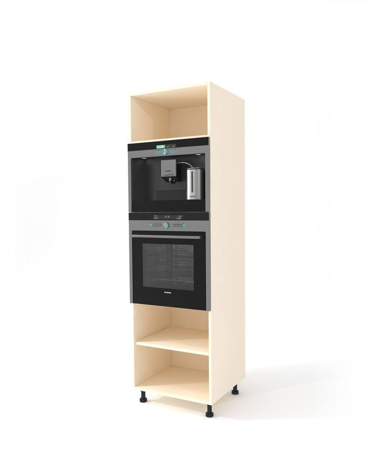 Oak high oven cabinet h-204 cm A specially adapted high floor cabinet to install one or two electrical appliances such as oven, steam oven, built-in coffee machine, microwave etc. Complete the cabinet by placing a door or 2-5 drawers at the bottom. At the top you will use an openable door or if the height does not exceed 60 cm, an Aventos mechanism. Easy to mount.