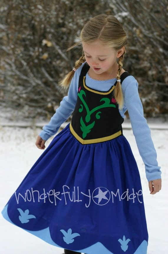 Need to keep this in the archives for possible Halloween costume.  She is currently obsessed with Frozen so it wouldn't surprise me!  Princess Anna from Frozen Dress up by wonderfullymade139 on Etsy, $55.00
