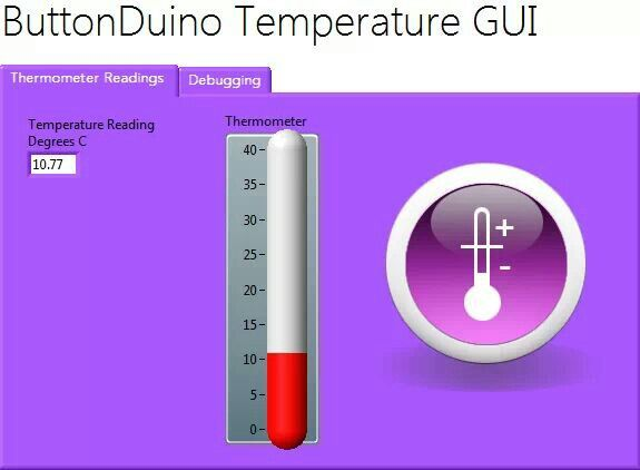 Things are heating up with buttonduino. Now you can send your data to a LabVIEW GUI interface. Just connect the micoUSB Cable http://www.indiegogo.com/project/preview/1b0cc9ad