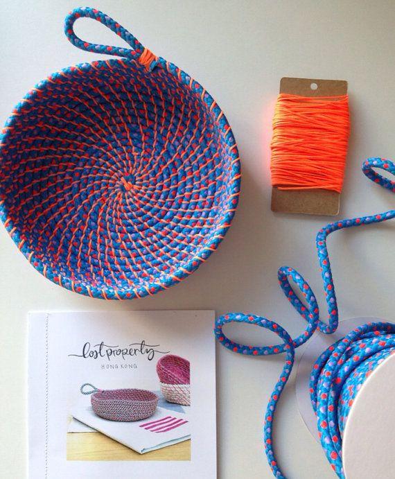 Spule Seil Schüssel Tutorial und Materialien. Gewebte Seil Schüssel machen Kit und Anleitungen