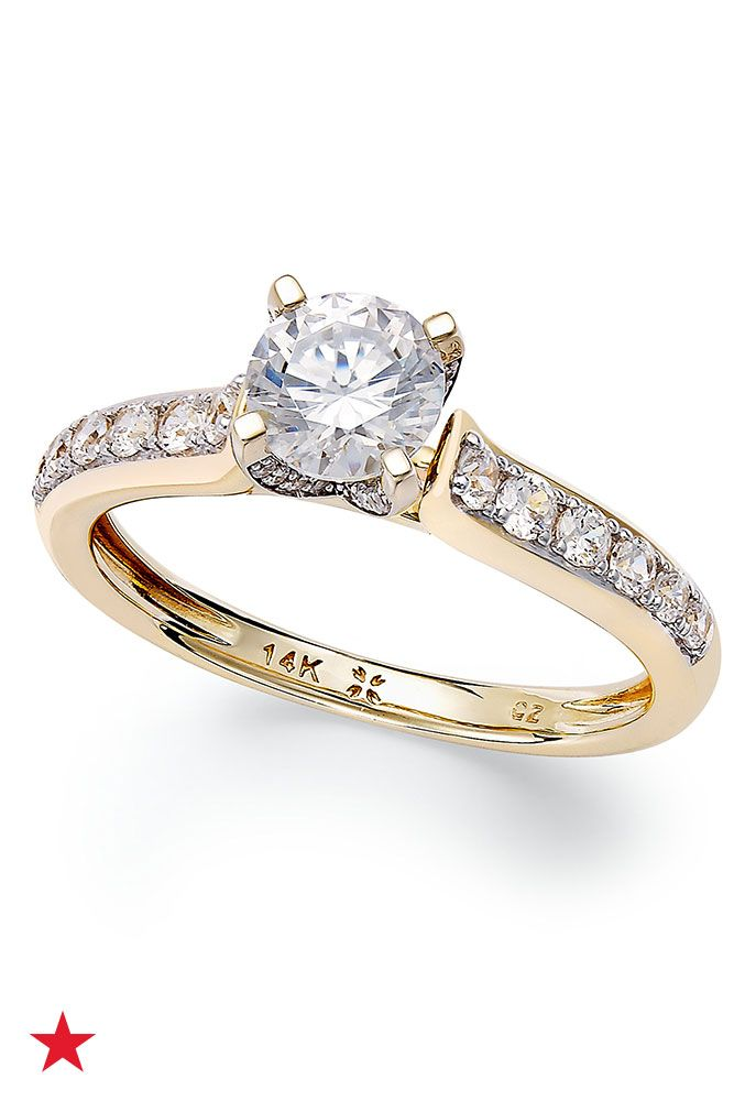diamond engagement ring in white gold or gold ct - Macys Wedding Rings