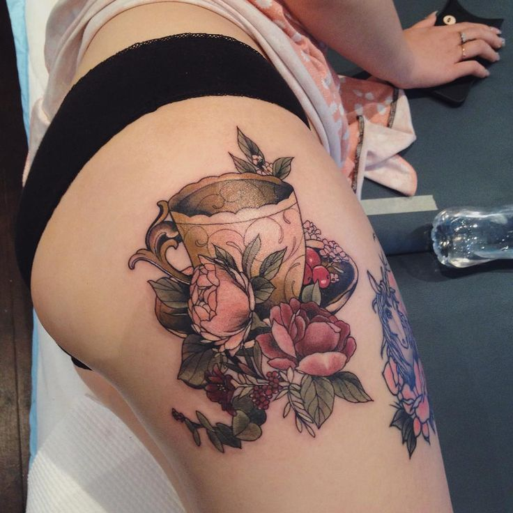 Beautiful floral + teacup tattoo by Sophia Baughan-- not the placement I would get for something like this