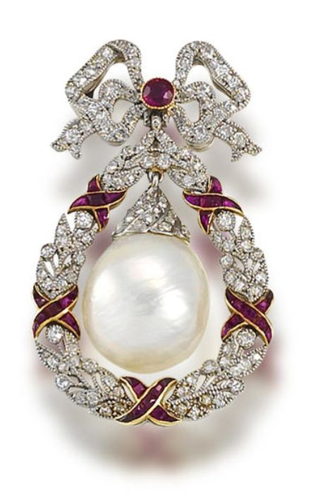A belle époque freshwater natural pearl, ruby, and diamond brooch, circa 1905. The circular-cut ruby and single-cut diamond fluttering ribbon bow surmount suspending a large freshwater baroque pearl drop with rose-cut diamond cap, within a millegrain-set single-cut diamond wreath surround, accented by calibré-cut ruby ribbons, length 4.0cm, cased by Kirkby & Bunn, successors to Streeter, 44 Old Bond Street.