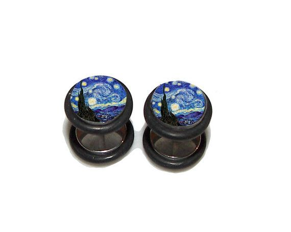 Stary Night FAKE Plugs Post Earrings  1 Pair  by PlainJanePlugs, $19.95