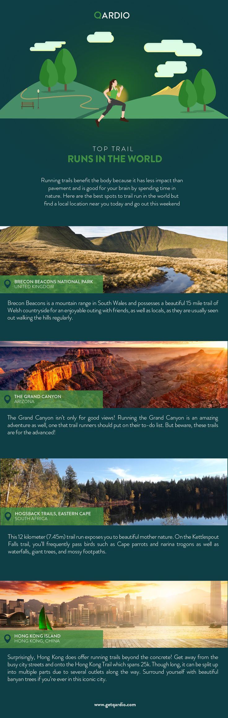 Have you ever tried trail running?  #Running trails benefits the body because it has less impact than pavement and is good for your brain by spending time in #nature.  Here are the best spots to trail run in the world but find a local location near you today and go out this #weekend!