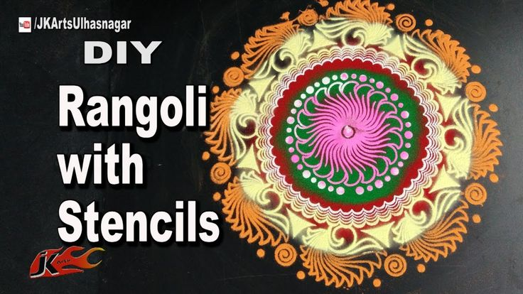 How to make Rangoli with stencils | DIY Easy and Quick Rangoli design | ...
