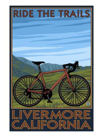Livermore, California Ride the Trails Mountain Bike Scene Poster