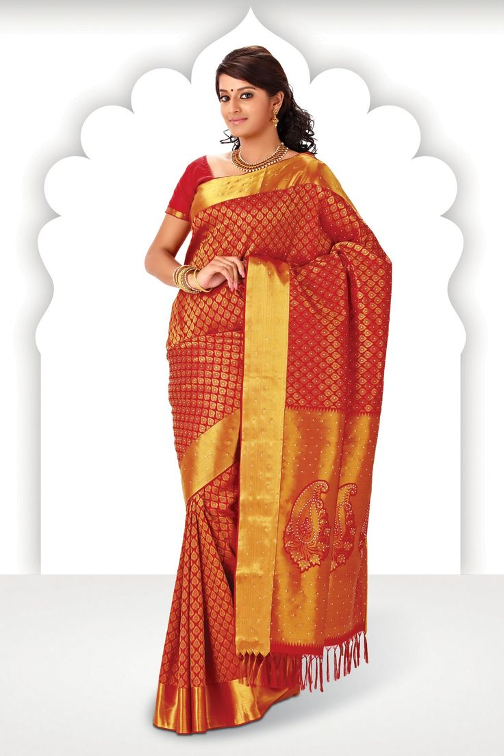 Dazzling #red zari weaved pure silk saree in #golden border is a traditional wear, it gives u a #classy and a #elegant look