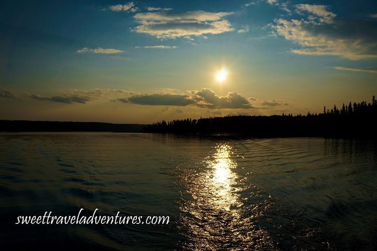 Sun Starting to Set on the Second Lake of the Hanging Heart Lakes in Prince Albert National Park, Saskatchewan, Canada