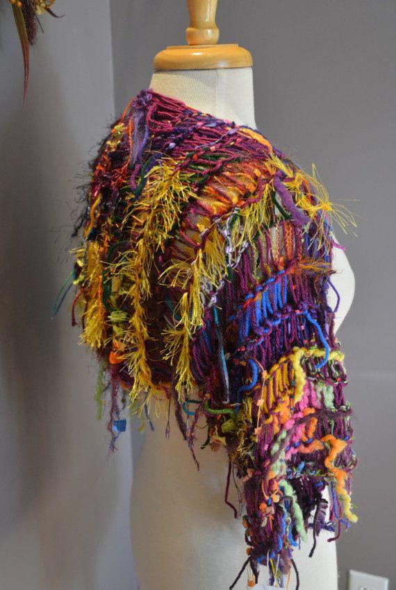 NEW Dumpster Diva 'Jester' Sleevie - Multitextural Knit Shrug Indie Tribal…