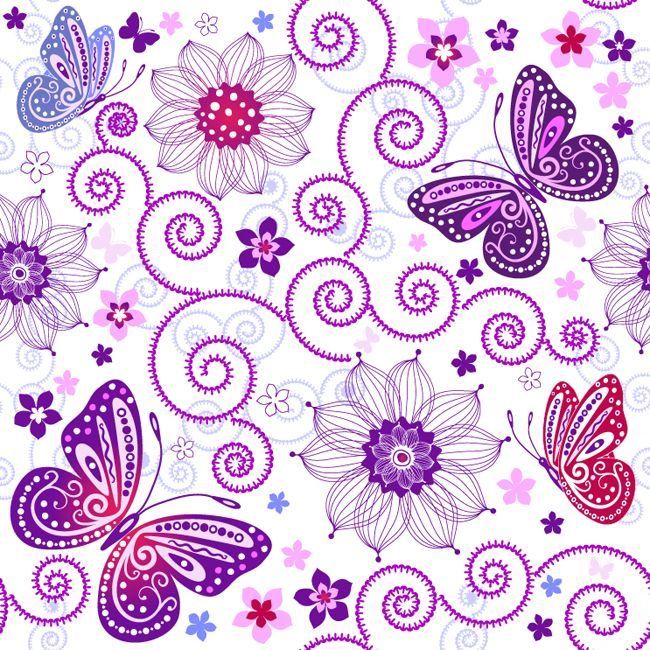 Floral Butterfly Pattern Vector - Free Vector Site   Download Free Vector Art, Graphics
