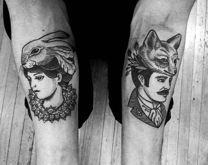 Fox and rabbit gentleman and lady dotwork tattoo black ink