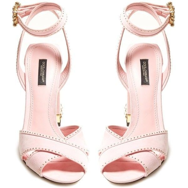 Dolce & Gabbana Embellished suede sandals ($1,195) ❤ liked on Polyvore featuring shoes, sandals, white strap sandals, chunky block heel sandals, strap sandals, white ankle strap sandals and white strappy sandals