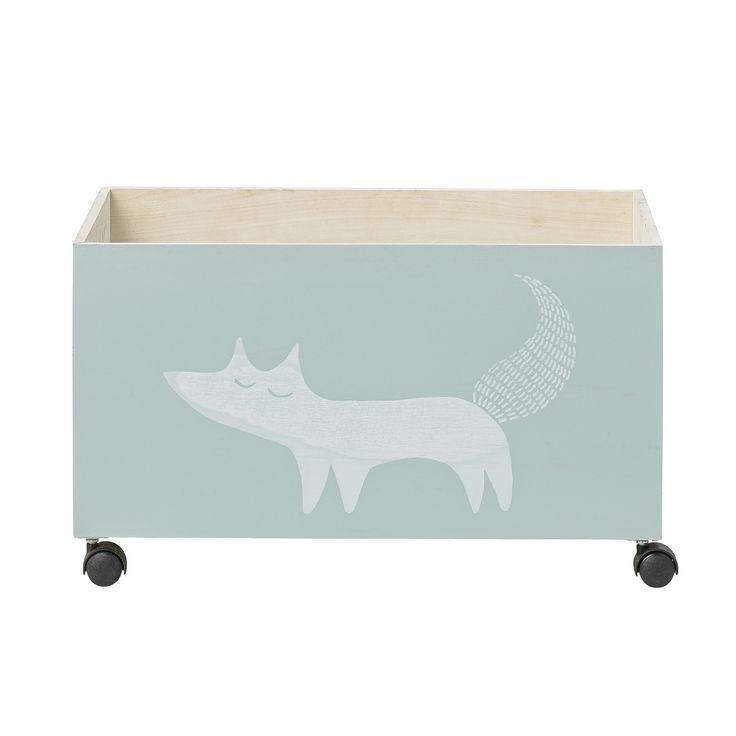 Деревянный ящик для хранения на колесиках с белкой Bloomingville