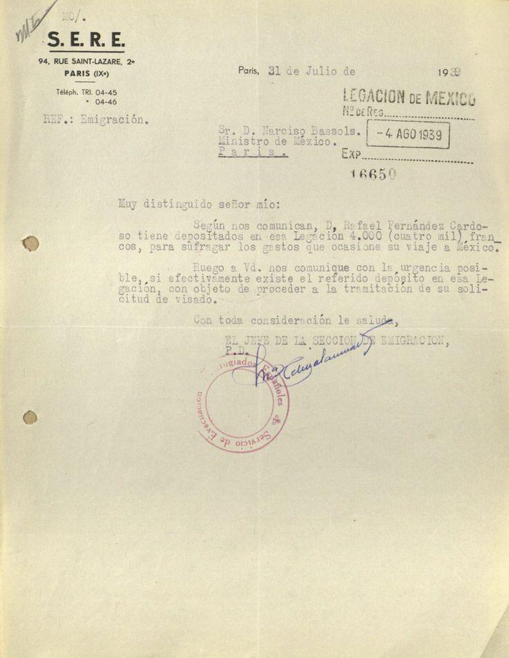 El Frente Popular Español recomienda a un republicano.  Así pedían refugio a México los exiliados republicanos  Cartas y documentos enviados desde campos de concentración franceses a la embajada de México en París solicitando asilo.
