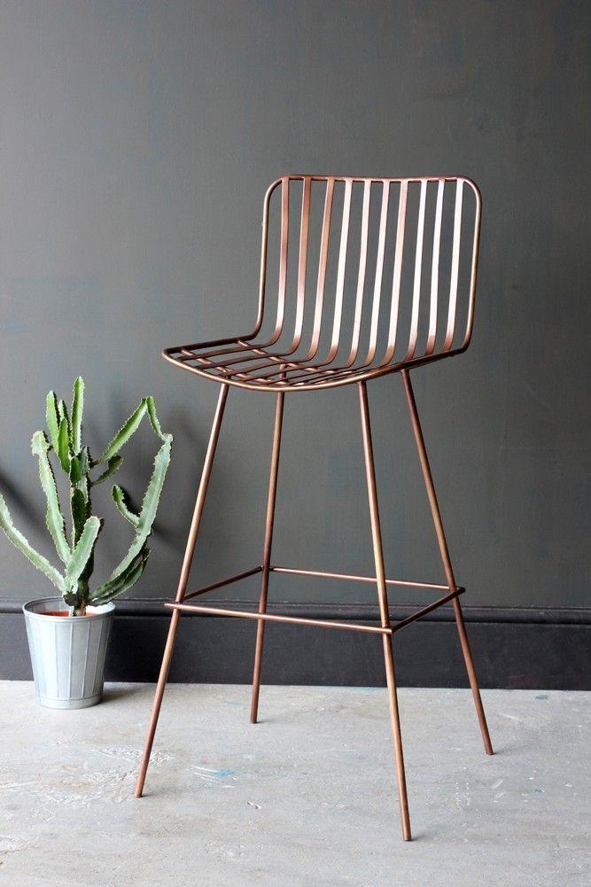 Midas Bar Stool - Dark Antique Copper - Furniture