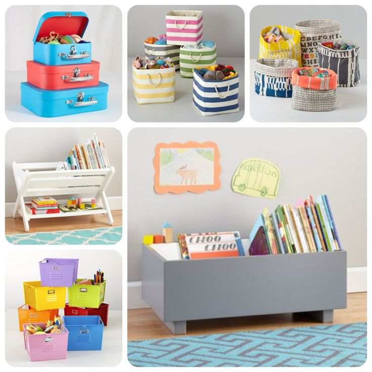 box on the floor wood floor x shaped above wood floor colorful striped fabric basket white wooden storage shelves colorful storage units kids room