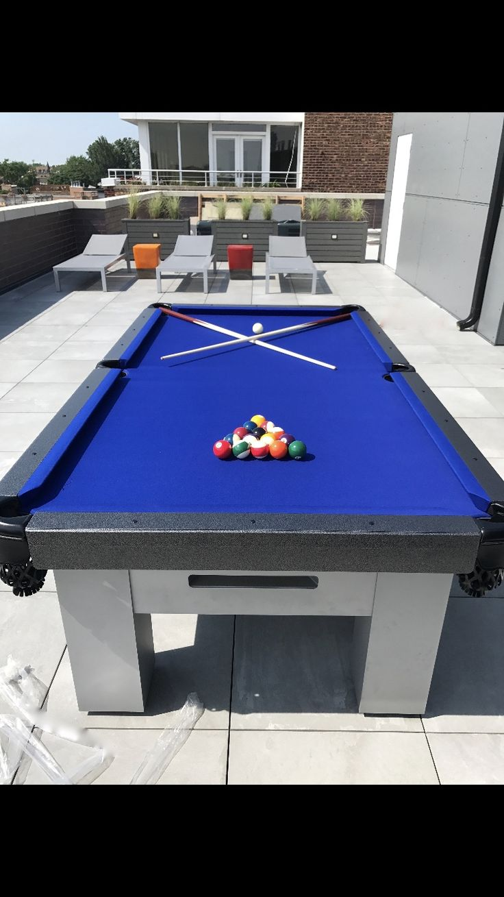 Custom Outdoor Pool Table   Gorgeous Orion Table Sets Off This Rooftop  Space!