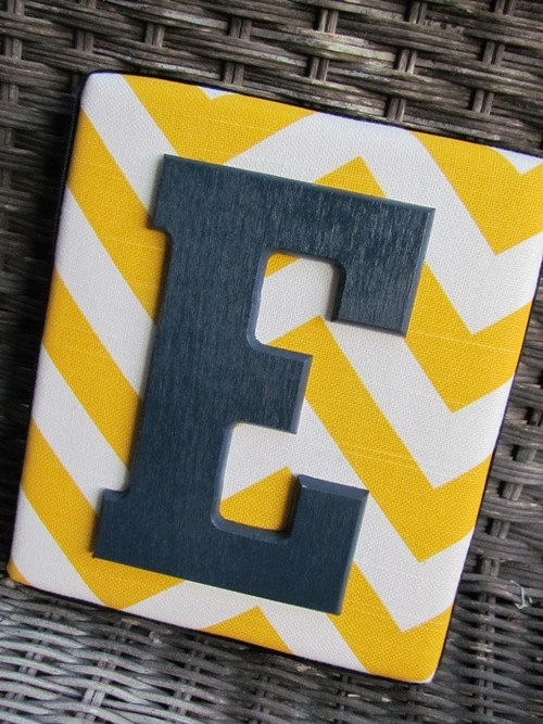 Framed Monogram 6x7 Yellow and Gray