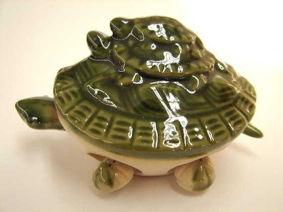 Feng Shui Turtle Statues w/ Green Turtles on the Top