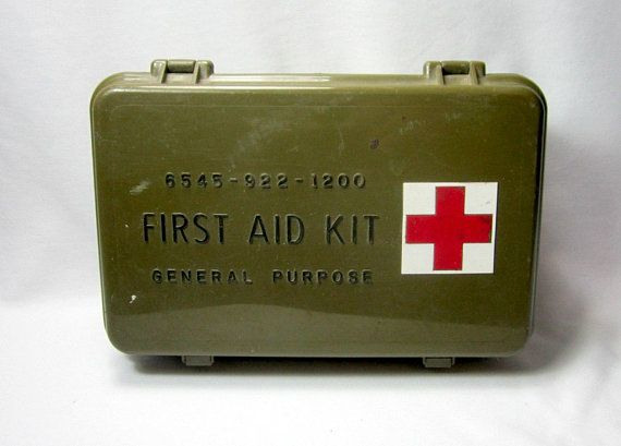 Army Green Plastic First Aid Kit First Aid Box Vintage Box Etsy Glamping Supplies First Aid Kit Vintage Box