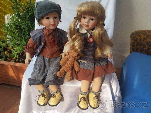 Porcelánová panenka- sourozenci cca 46 cm - 1