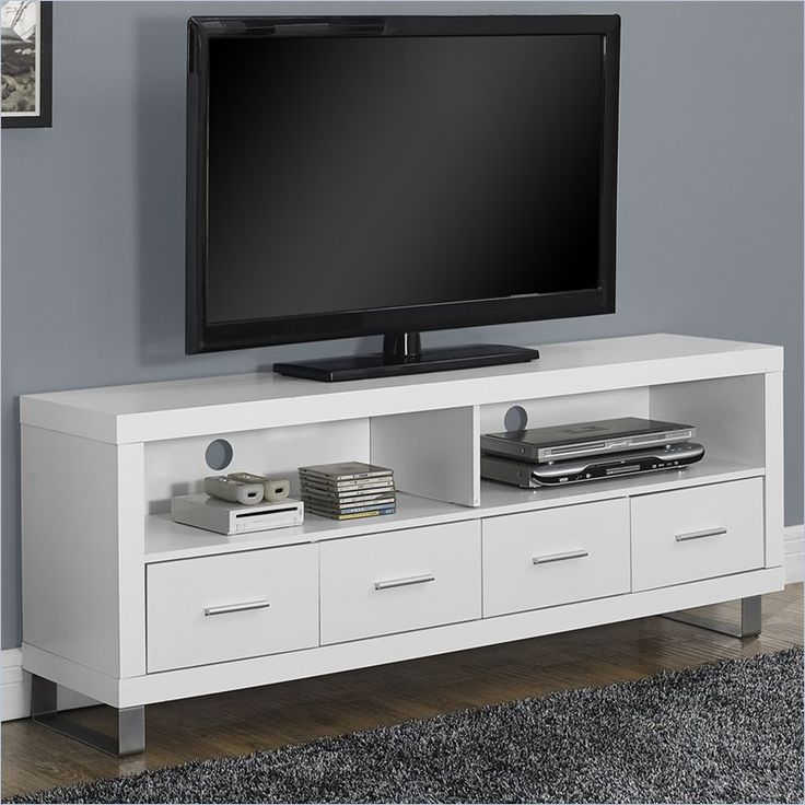Hollow-Core TV Console in White with Drawers