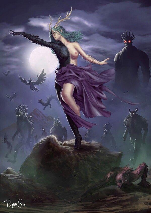MELINOË: Era la hija de Zeus, que se disfrazó de Hades y sedujo a Perséfone en el río Estigia. Por esto, el cuerpo de Melínoe era mitad luz y mitad oscuridad reflejando la luz de su padre, el rey del Monte Olimpo, Zeus y la reina del Inframundo, Perséfone. Podía desatar pesadillas y locura en los humanos