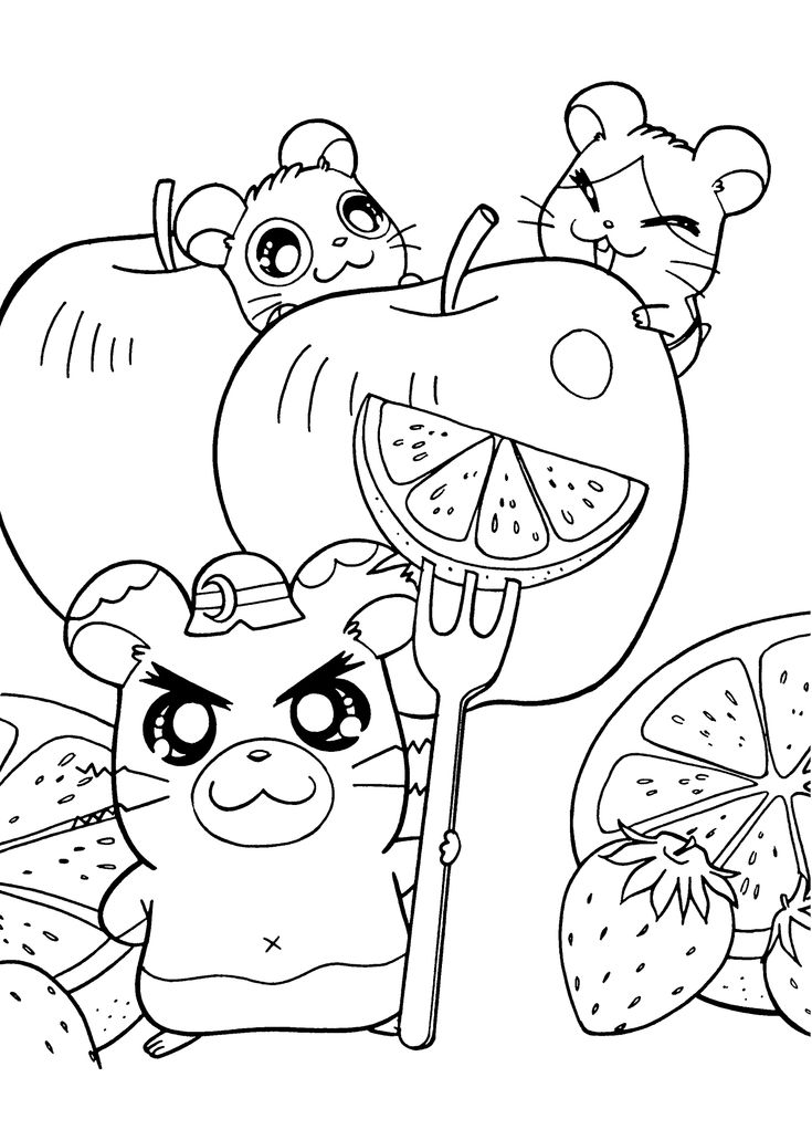 Hamtaro Anime Coloring Pages For Kids Printable Free