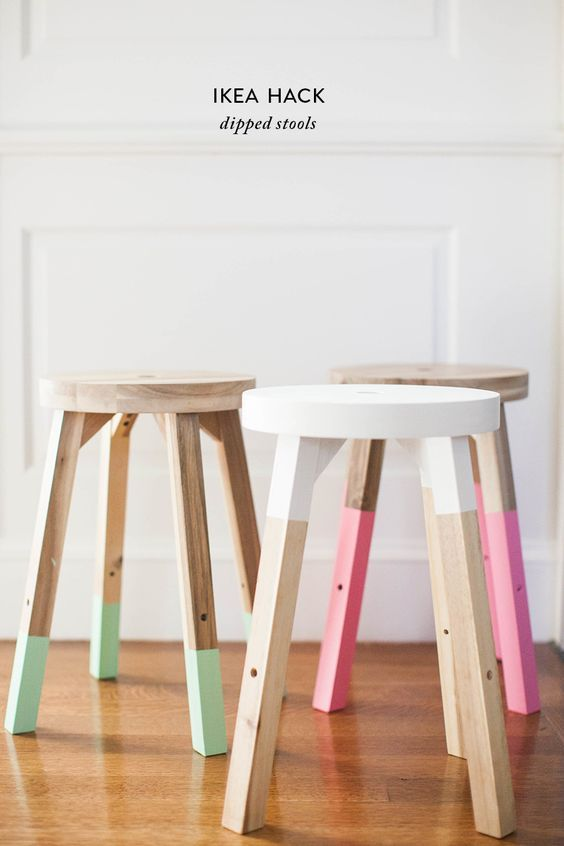 Ikea Hack alert. Make these super cute Dipped Stools for $20  http://www.stylemepretty.com/living/2016/04/12/on-trend-diy-dipped-stools-for-half-the-price/:
