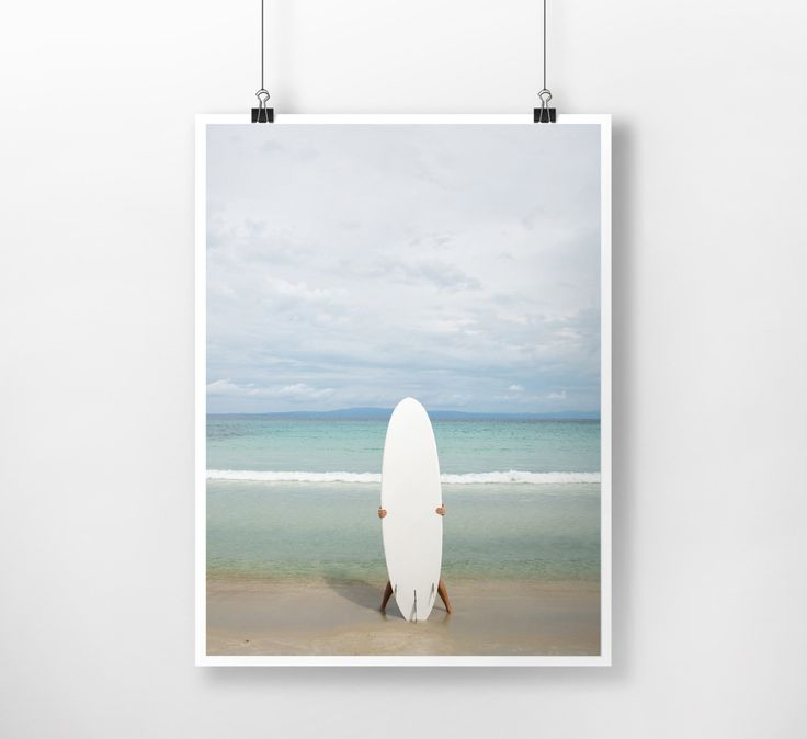 Beach Surfer, Waves, Water, Coastal Wall Decor, Beach Art, Large Printable Poster, Digital Download, Modern, Minimalist, Turquoise, Blue by PrintingDots on Etsy