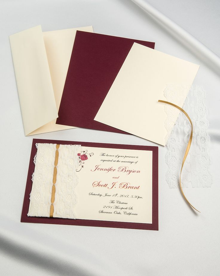 Burgundy Threaded real lace with gold ribbon