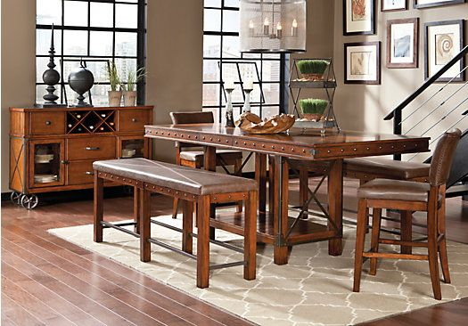 rooms to go dining room table | Red Hook Pecan 5 Pc Counter Height Dining Room | Dining ...