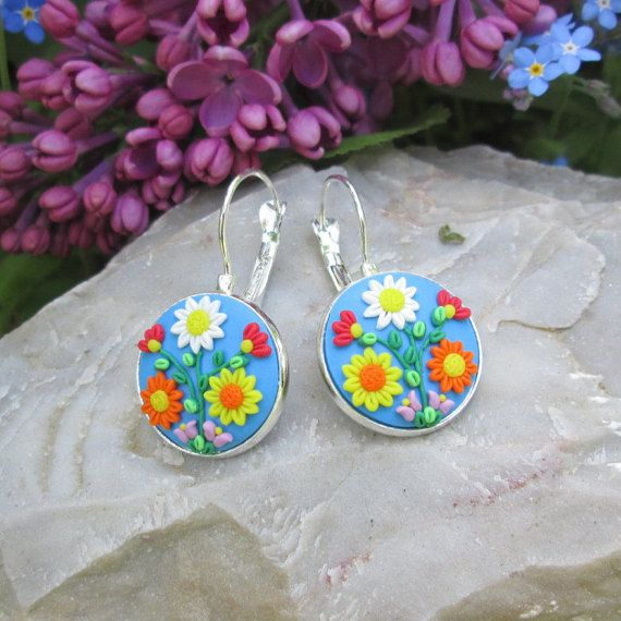blue flower earrings blue boho earrings gift for her birthday boho fashion style vintage summer art by FloralFantasyDreams