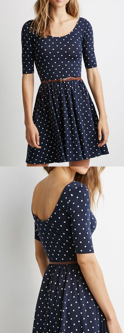 Navy Polka Dot Print Backless Belt Waist Skater Dress-CHOIES