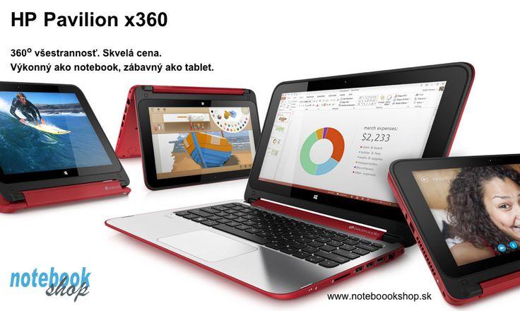HP Pavilion x360 - Všestranný výkonný notebook s dotykovým displejom, ktorý sa dá využívať aj ako tablet. Dostupný v rôznych farebných prevedeniach.
