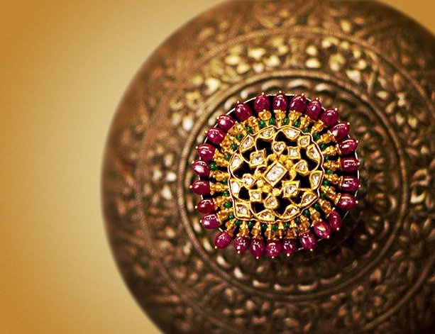 Jadau Cocktail Ring with Ruby Beads and Dia Polki in 23/24Kt. Gold. -  Bhuramal Rajmal Surana Johuree.